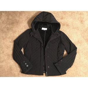 Calvin Klein Womens Coat Size Medium M Black Fur